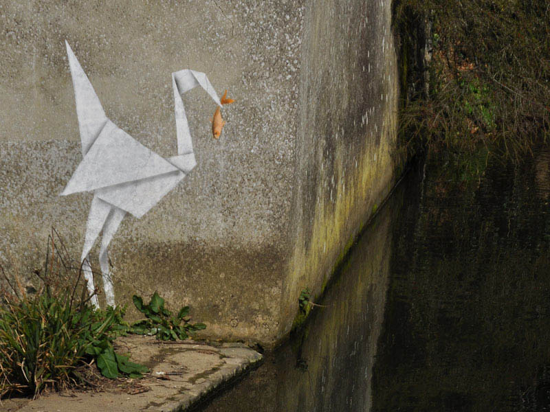 banksy origami crane with fish 10 Latest Artworks from Banksy