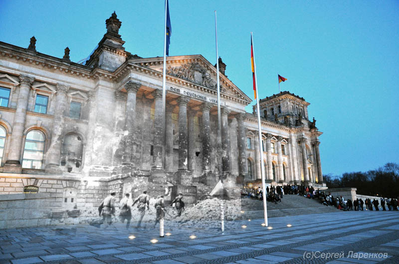 blending scenes from wwii into present day storming reichstag berlin germany Finding the Locations of Famous Album Covers