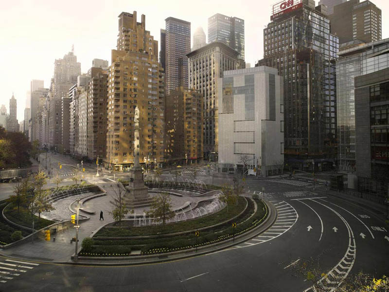 columbus circle new york 250x320cm 2009 silent world lucie and simon Visions of Cities Without People