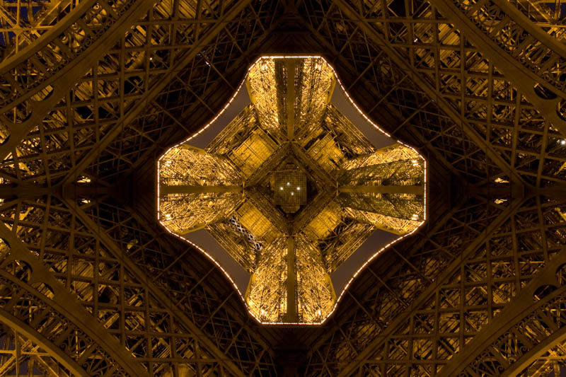 eiffel tower from below looking up 12 Unique Views of Rooms from Above