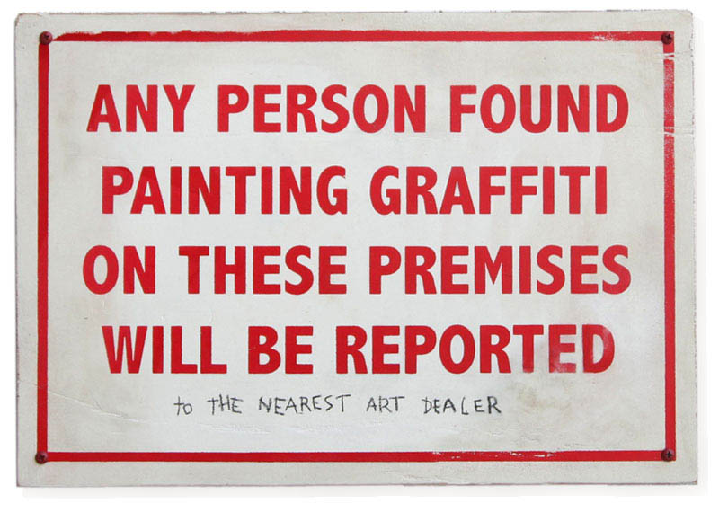 graffiti warning sign banksy 10 Latest Artworks from Banksy