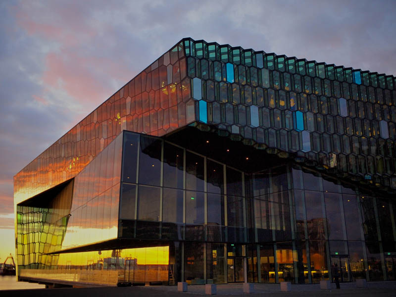 harpa reykjavik sunset 25 Incredible Concert Halls Around the World