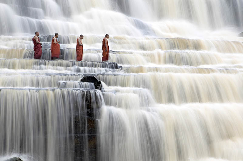 mediating monks on pongour falls vietnam The Top 75 Pictures of the Day for 2012