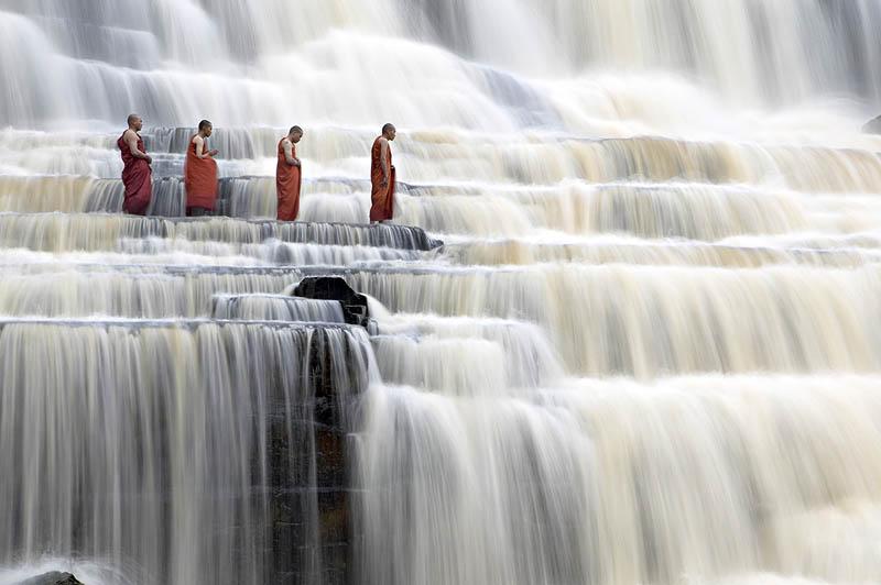 mediating monks on pongour falls vietnam Picture of the Day: Meditating Monks at Pongour Falls