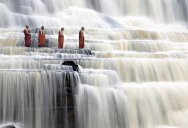 Picture of the Day: Meditating Monks at Pongour Falls