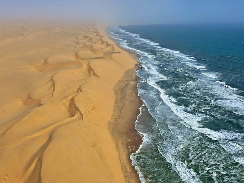 namib desert coast sand dunes ocean meet southern africa aerial from above Picture of the Day: The Worlds Oldest Desert