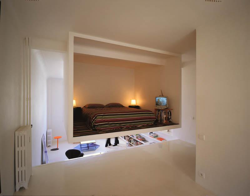 open concept loft bachelor apartment with hanging bedroom ecdm valentin 12 Elevator Bed Rises to Reveal Sunken Living Room