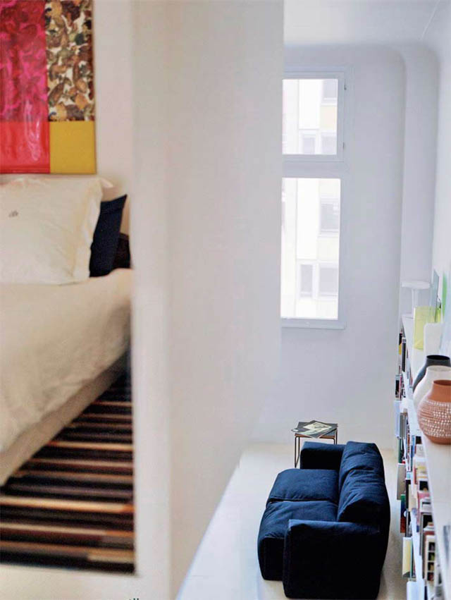open concept loft bachelor apartment with hanging bedroom ecdm valentin 15 Unique Loft Space with Hanging Bedroom
