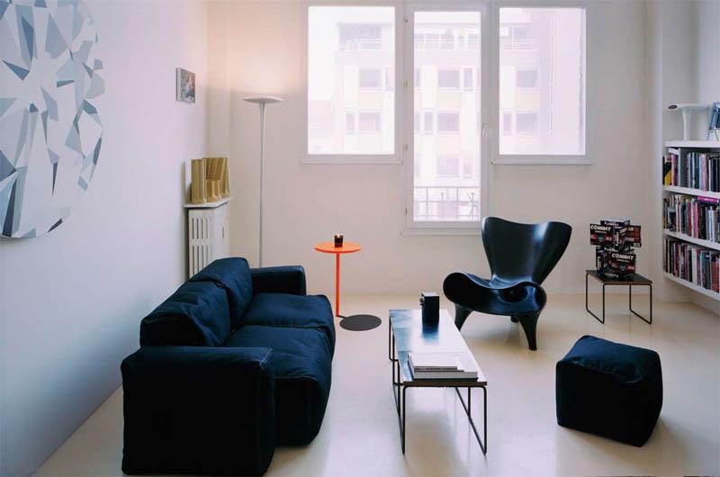 open concept loft bachelor apartment with hanging bedroom ecdm valentin 2 Unique Loft Space with Hanging Bedroom