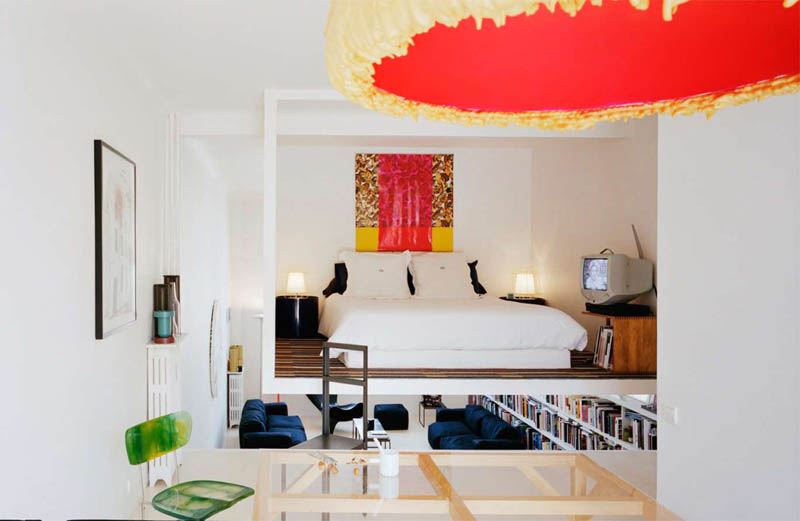 open concept loft bachelor apartment with hanging bedroom ecdm valentin 20 Unique Loft Space with Hanging Bedroom