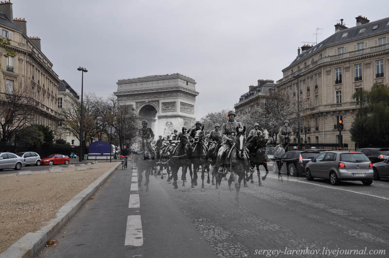 paris 1940 2010 german cavalry on the avenue foch Blending Scenes from WWII into Present Day