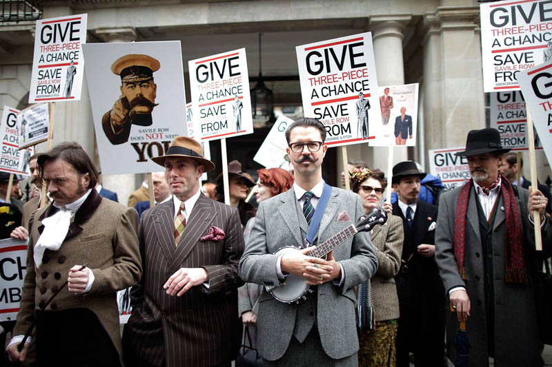 protesting in style three piece suits savile row abercrombie and fitch mr b Picture of the Day: Protesting in Style