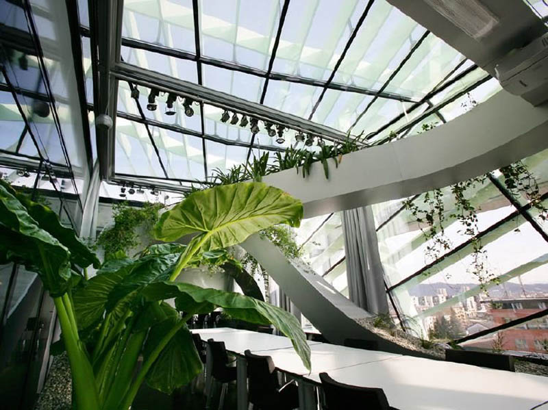 rooftop meeting space with swopping lush panoramic interior garden 4 Amazing Rooftop Boardroom with Panoramic Indoor Garden