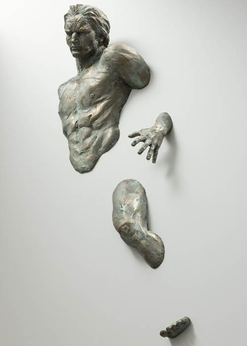 sculptures that emerge vanish into walls matteo pugliese 2 Amazing Sculptures That Emerge from Walls