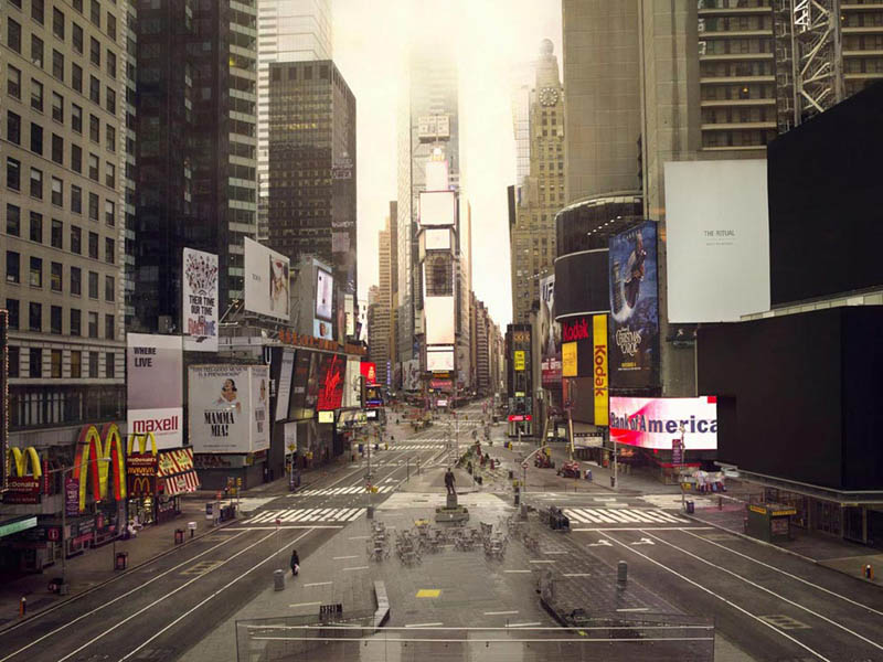 times square 250x320cm 2010 silent world without people lucie and simon Visions of Cities Without People