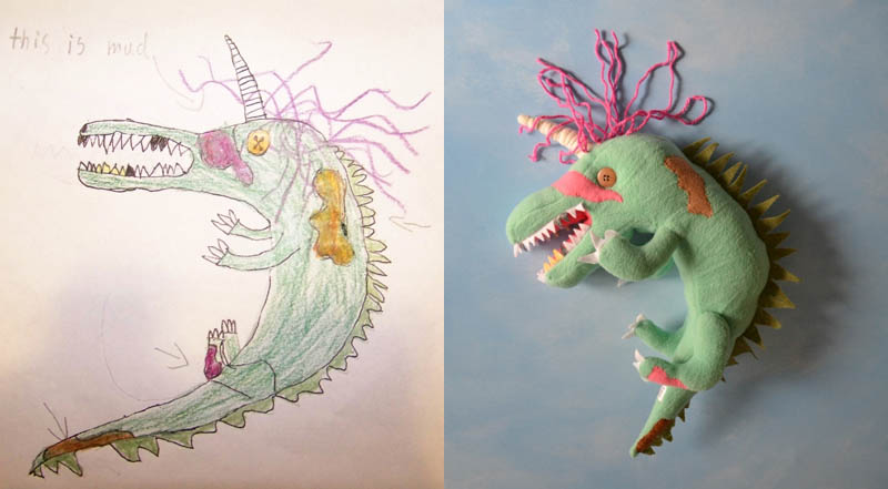 turn kids childrens drawings into plush toys dolls 12 Creative Mom Turns Kids Drawings into Plush Toys