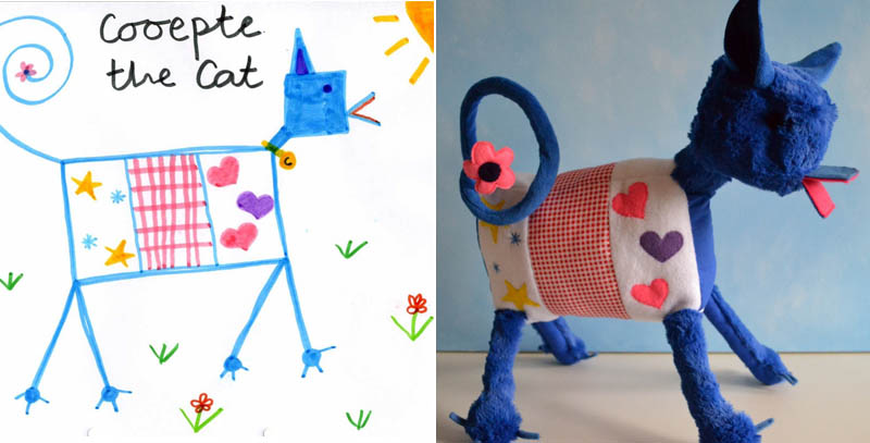 turn kids childrens drawings into plush toys dolls 14 Creative Mom Turns Kids Drawings into Plush Toys