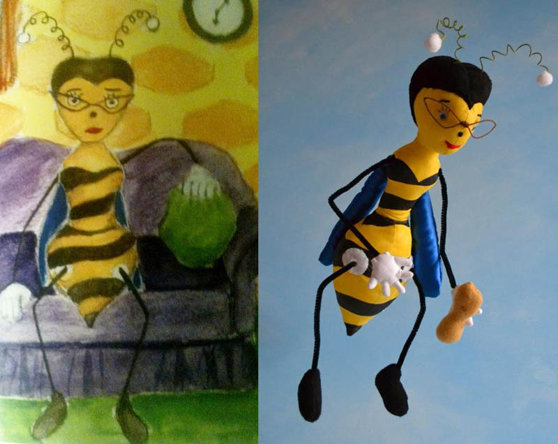 turn kids childrens drawings into plush toys dolls 8 Creative Mom Turns Kids Drawings into Plush Toys