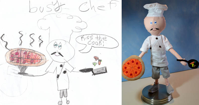 turning kids childrens drawings into plush toys dolls 11 Creative Mom Turns Kids Drawings into Plush Toys