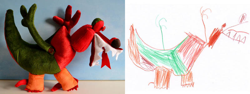 turning kids childrens drawings into plush toys dolls 12 Creative Mom Turns Kids Drawings into Plush Toys