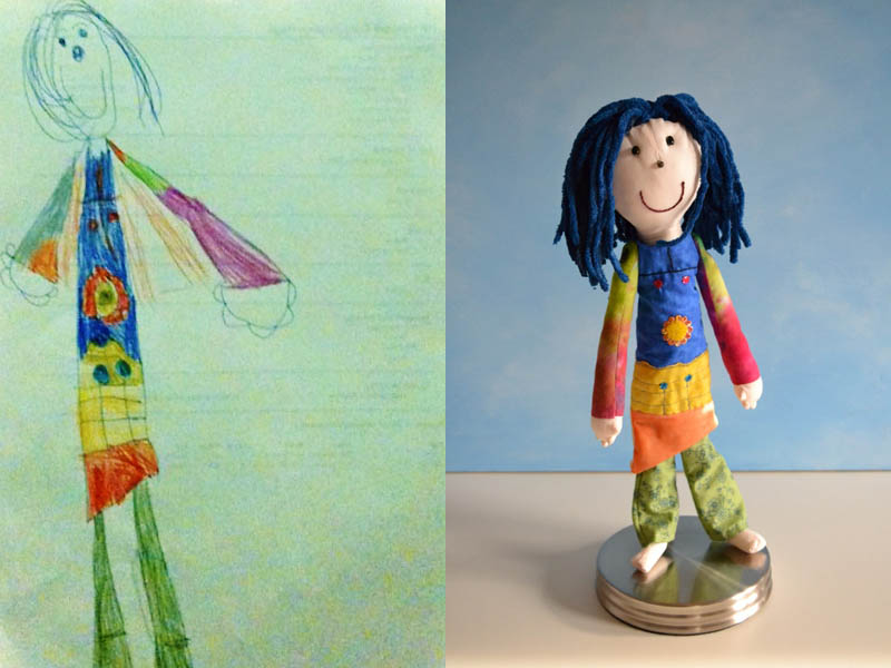 turning kids childrens drawings into plush toys dolls 13 Creative Mom Turns Kids Drawings into Plush Toys