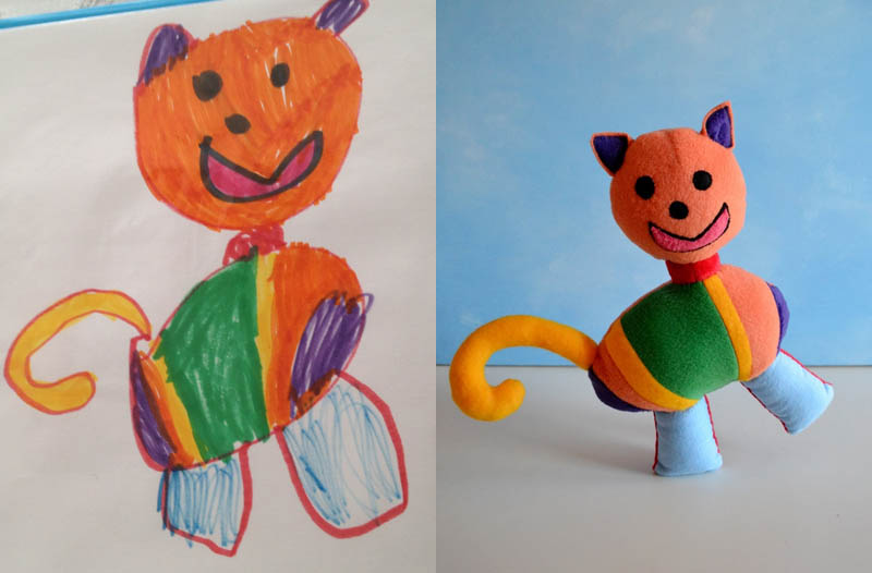 turning kids childrens drawings into plush toys dolls 14 Creative Mom Turns Kids Drawings into Plush Toys
