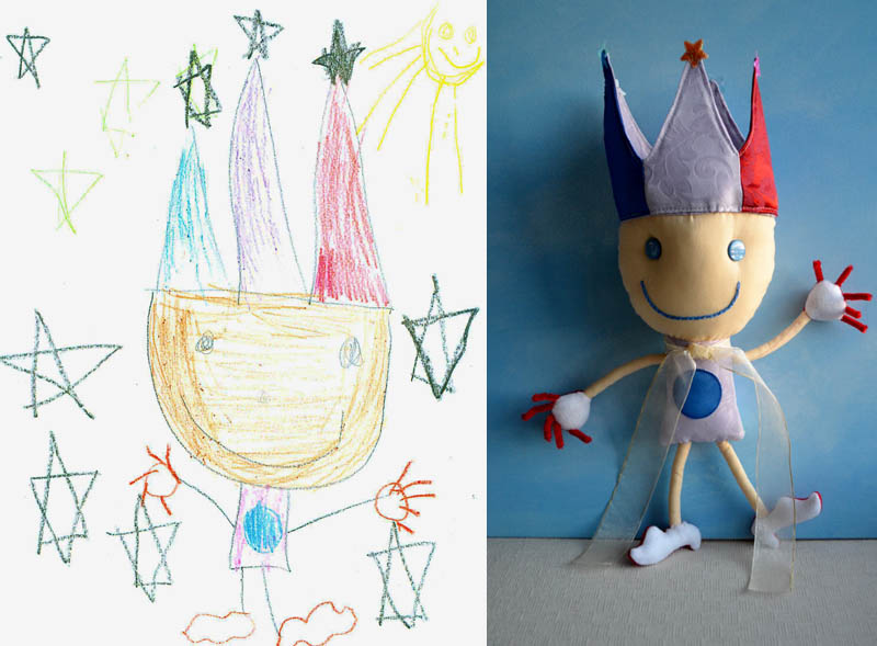 turning kids childrens drawings into plush toys dolls 15 Creative Mom Turns Kids Drawings into Plush Toys