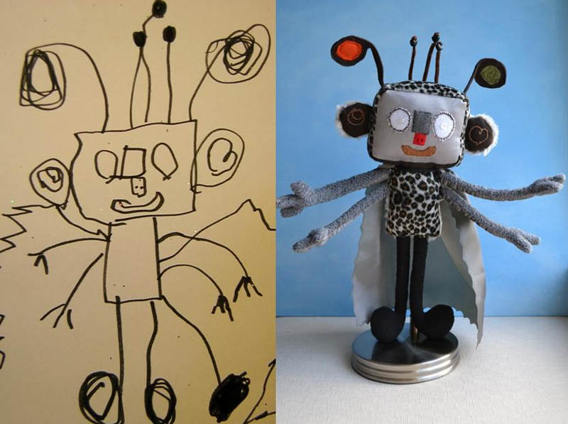 turning kids childrens drawings into plush toys dolls 2 Creative Mom Turns Kids Drawings into Plush Toys