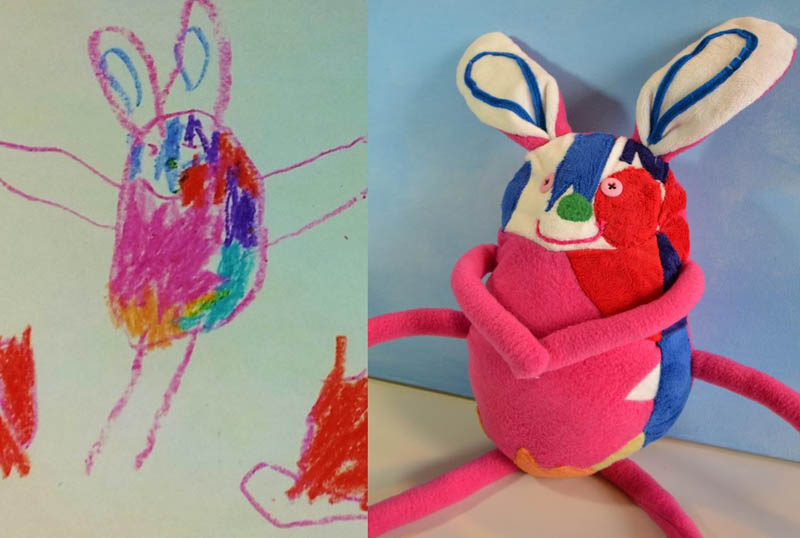 turning kids childrens drawings into plush toys dolls 5 Creative Mom Turns Kids Drawings into Plush Toys