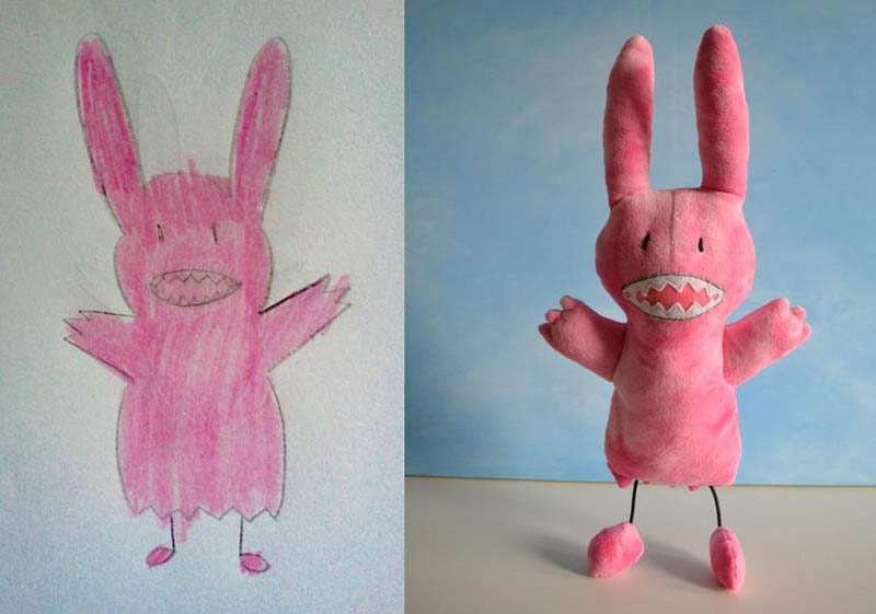 turning kids childrens drawings into plush toys dolls 7 Creative Mom Turns Kids Drawings into Plush Toys