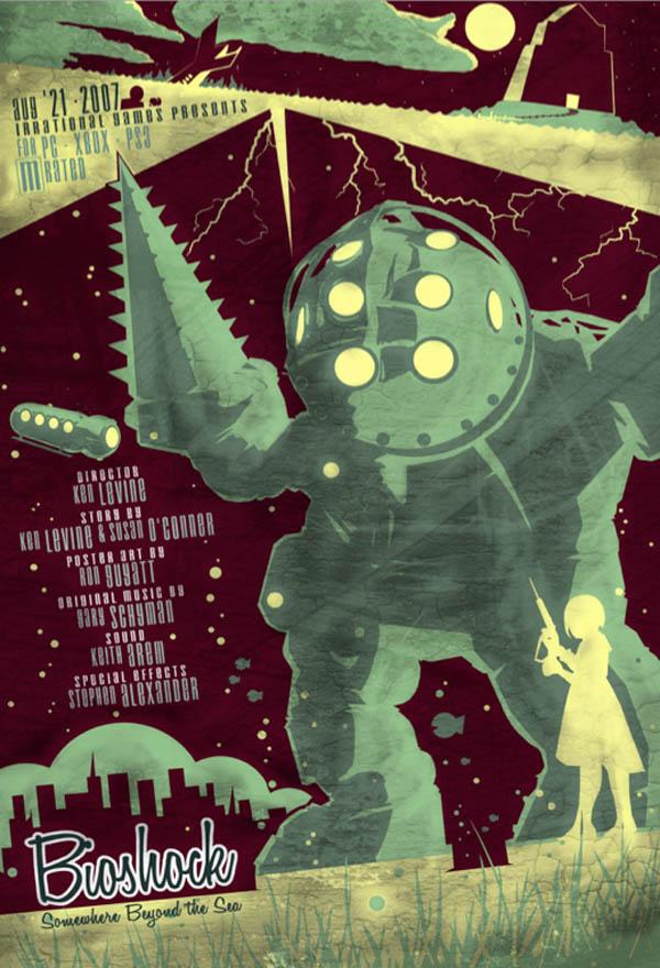 video game movie posters ron guyatt bioshock 14 Creative Video Game Inspired Movie Posters