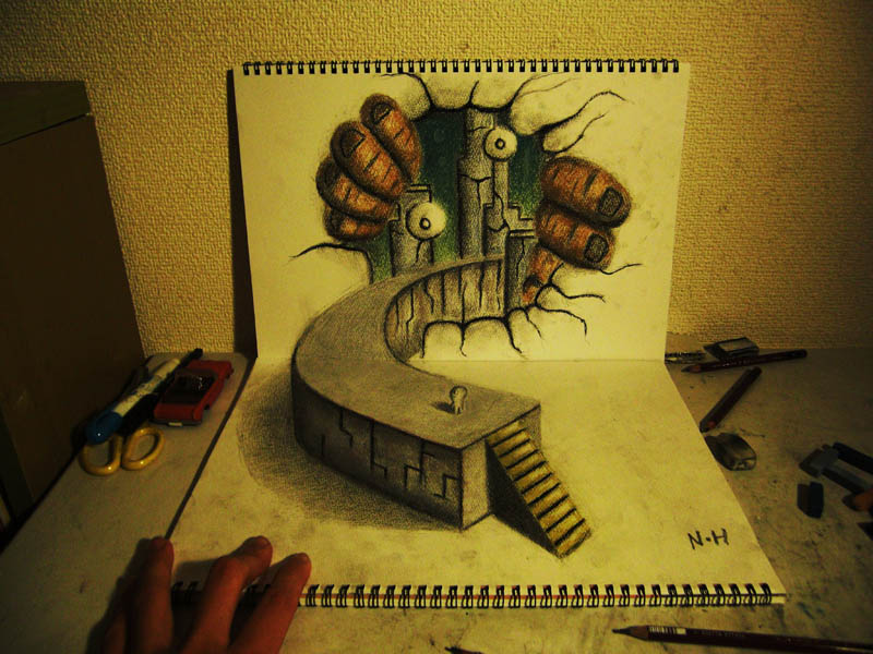 3d pencil art head on view