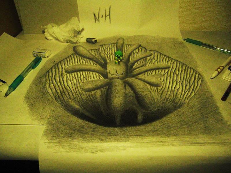 3d pencil drawings in sketchbooks nagai hideyuki 13 Mind Blowing 3D Pencil Drawings by Nagai Hideyuki