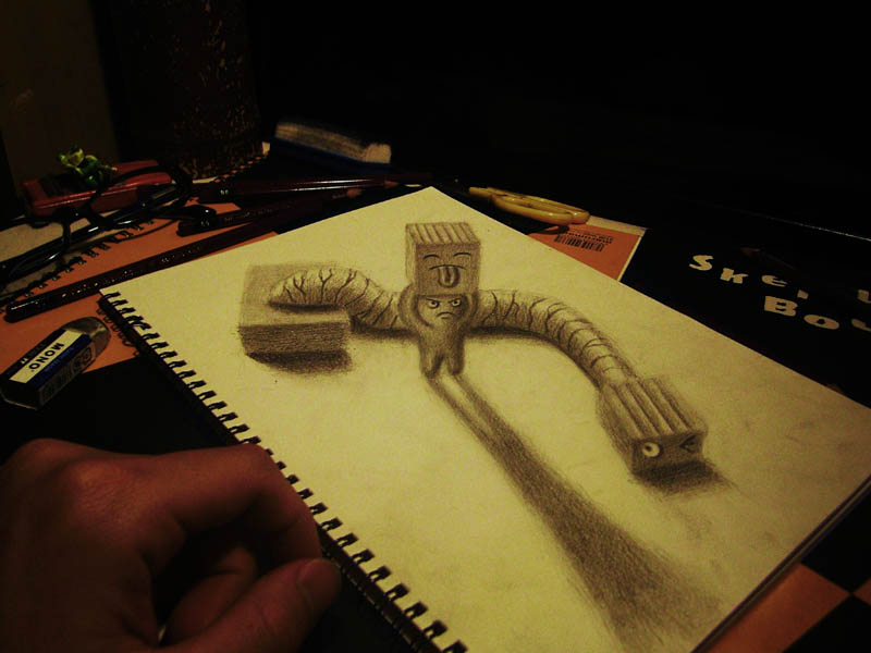 3d pencil art on one sheet of paper