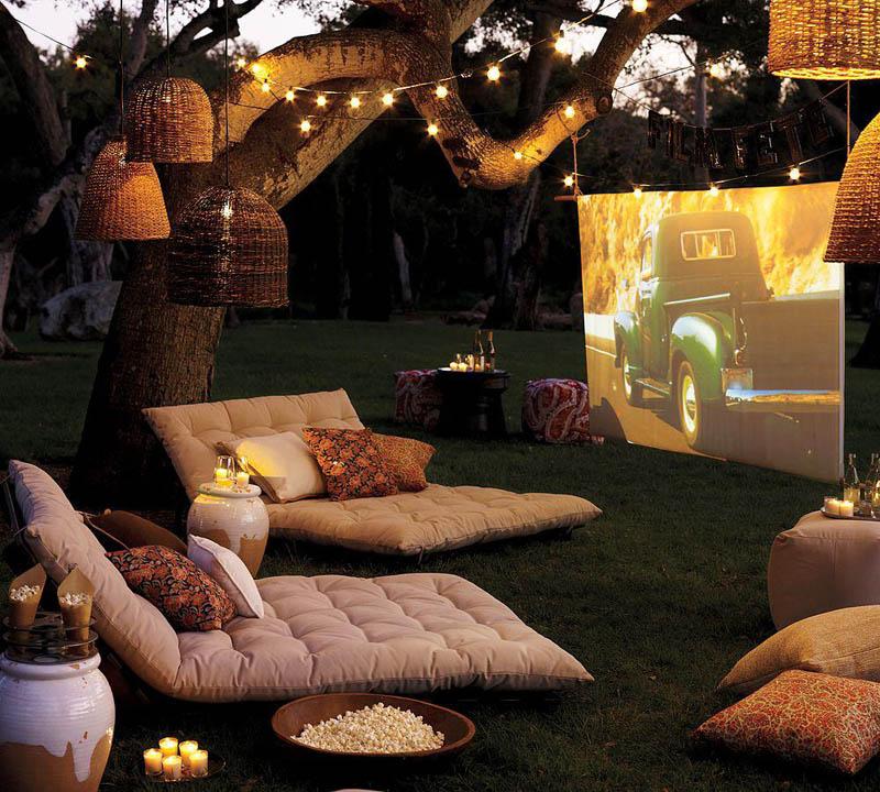home theatre setup in the backyard