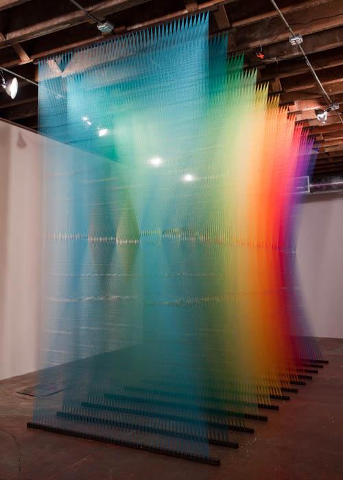 art installation colored thread plexus 3 gabriel dawe 1 6 Amazing Color Spectrums Made from Thread