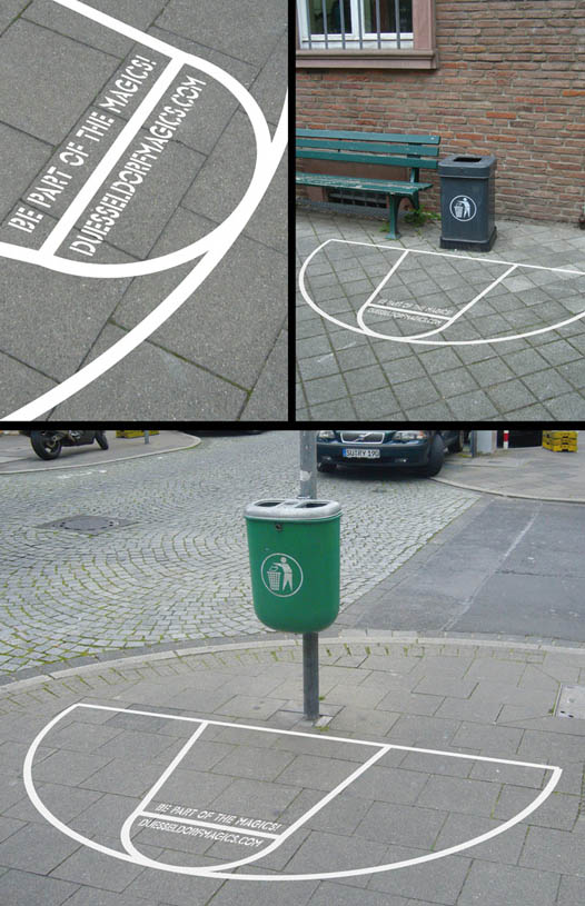 basketball court sticker placed around garbage cans to make throwing out litter a game