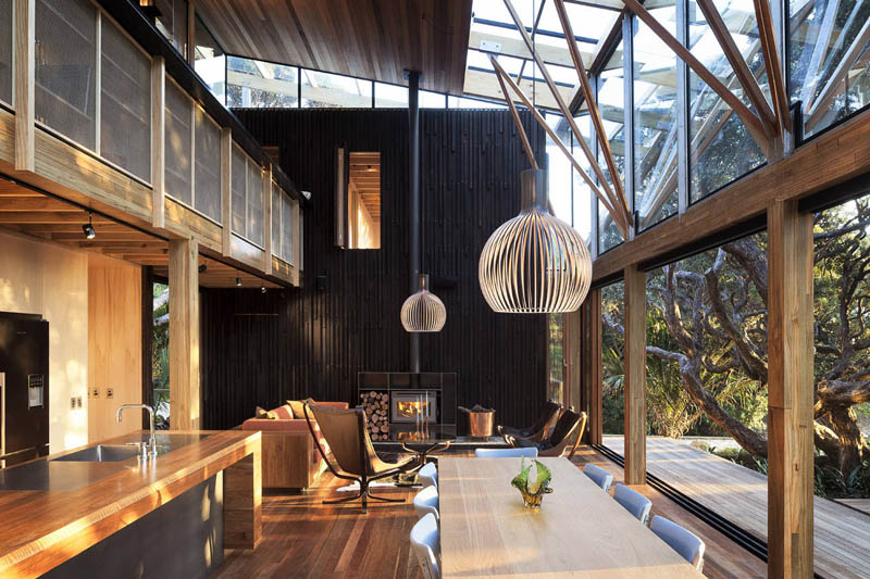 open concept living room dining room beach house new zealand
