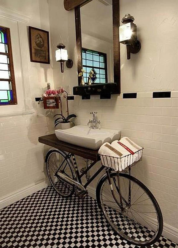 old bike used as base for bathroom counter