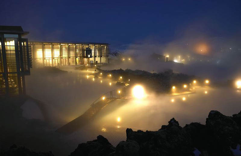 wide angle shot of the blue lagoon geothermal spa in iceland at night