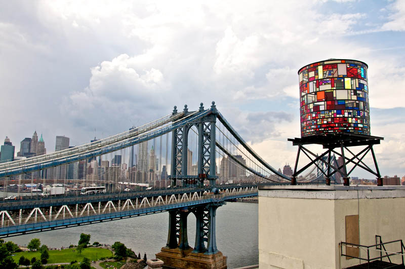 brooklyn color watertower sculpture tom fruin plexiglass Picture of the Day: Colorful Watertower Sculpture in Brooklyn