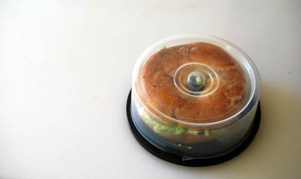 old cd holder as bagel holder