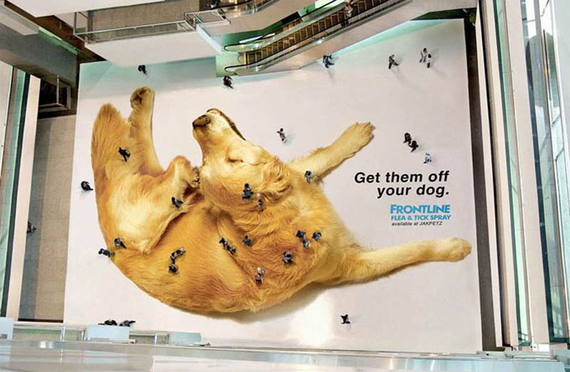 creative floor sticker ad giant dog people look like fleas ticks from above 50 Really Creative Billboards