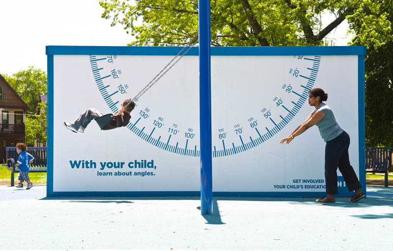 billboard swing with protractor to teach kids about angles