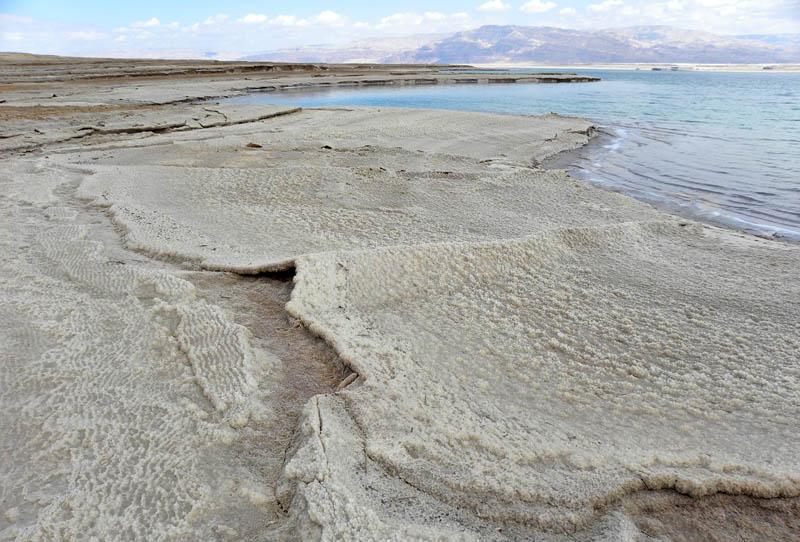 halite deposits on the western coast of the dead sea in israel