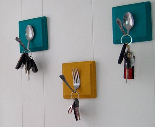forks and spoons wall hooks 50 Creative Ways to Repurpose, Reuse and Upcycle Old Things