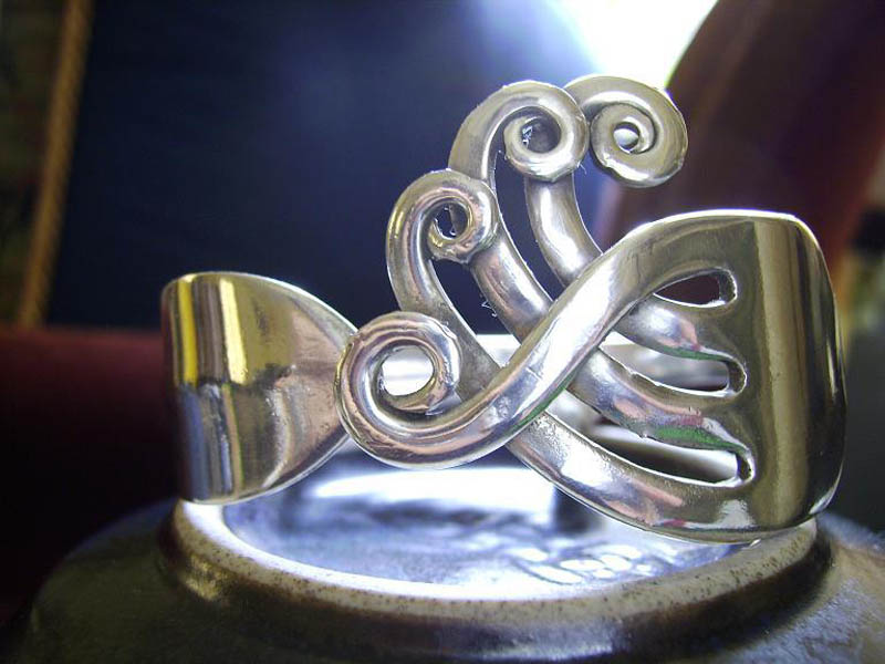 ring with curved tines from sterling silver fork