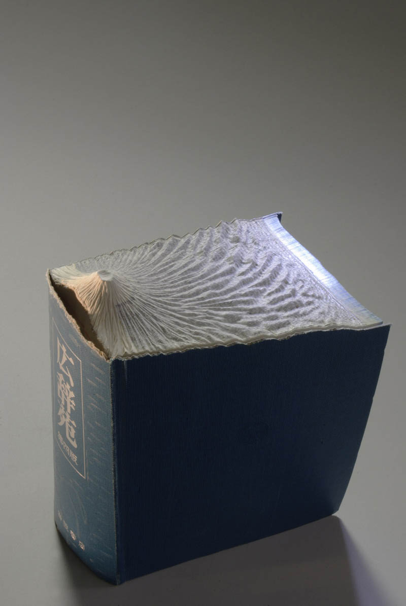 volcano carved into book