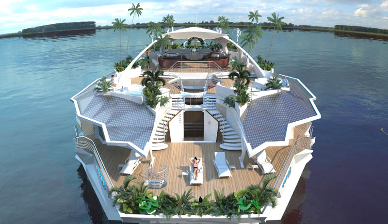 rendering of a man-made floating island that is moveable and looks like a boat