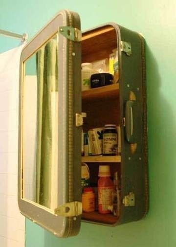 suitcase upcycled into medicine cabinet in bathroom